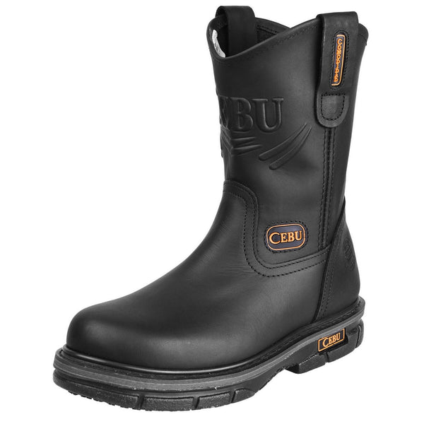 Men's Work Boots - Non Slip - Black Work Boots - Cebu - Pull On Work Boots - Black Wellington Work Boots