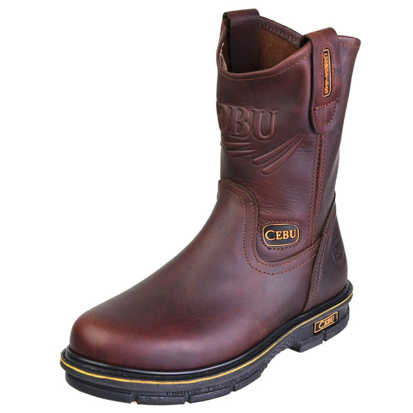 Men's Work Boots - Versatile - Brown Work Boots - Cebu - Pull On Work Boots - Brown Wellington Work Boots