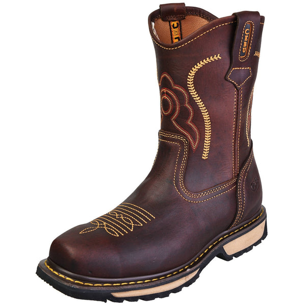 Men's Work Boots - Composite Toe - Brown Work Boots - Cebu - Pull On Work Boots - Brown Wellington Work Boots