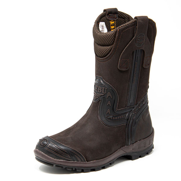 Men's Work Boots - Waterproof & Composite Toe - Brown Work Boots - Cebu - Pull On Work Boots - Brown Wellington Work Boots