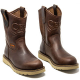 Men's Work Boots - Lightweight & Wedge Sole - Brown Work Boots - Cebu - Pull On Work Boots - Cafe Wellington Work Boots