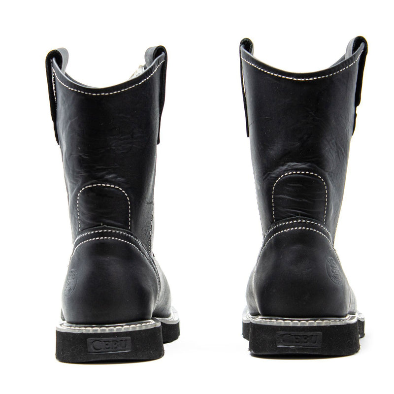 Men's Work Boots - Lightweight & Wedge Sole - Black Work Boots - Cebu - Pull On Work Boots - Negro Wellington Work Boots