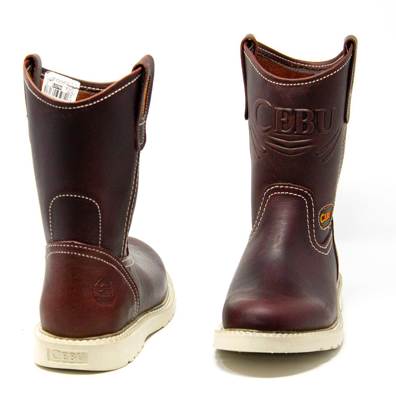 Men's Work Boots - Lightweight & Wedge Sole - Shedron Work Boots - Cebu - Pull On Work Boots - Shedron Wellington Work Boots