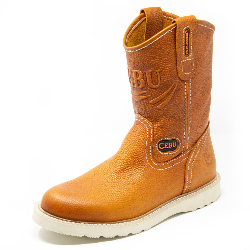 Men's Work Boots - Lightweight & Wedge Sole - Tan Work Boots - Cebu - Pull On Work Boots - Tan Wellington Work Boots
