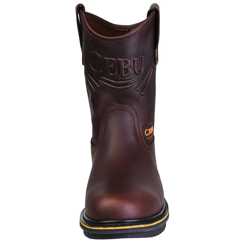 Men's Work Boots - Wedge Sole - Brown Work Boots - Cebu - Pull On Work Boots - Brown Wellington Work Boots