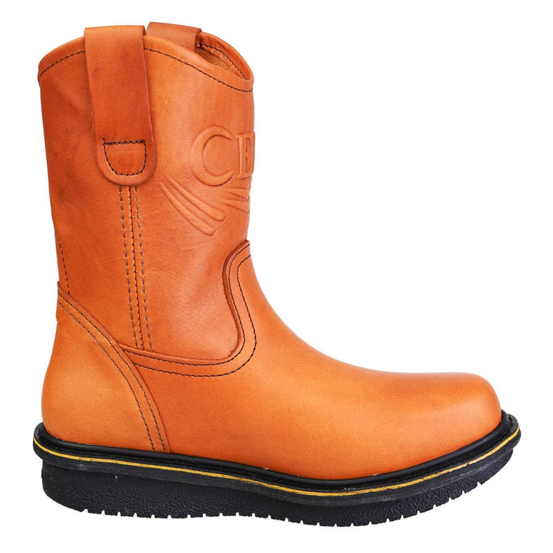Men's Work Boots - Wedge Sole - Tan Work Boots - Cebu - Pull On Work Boots - Honey Wellington Work Boots