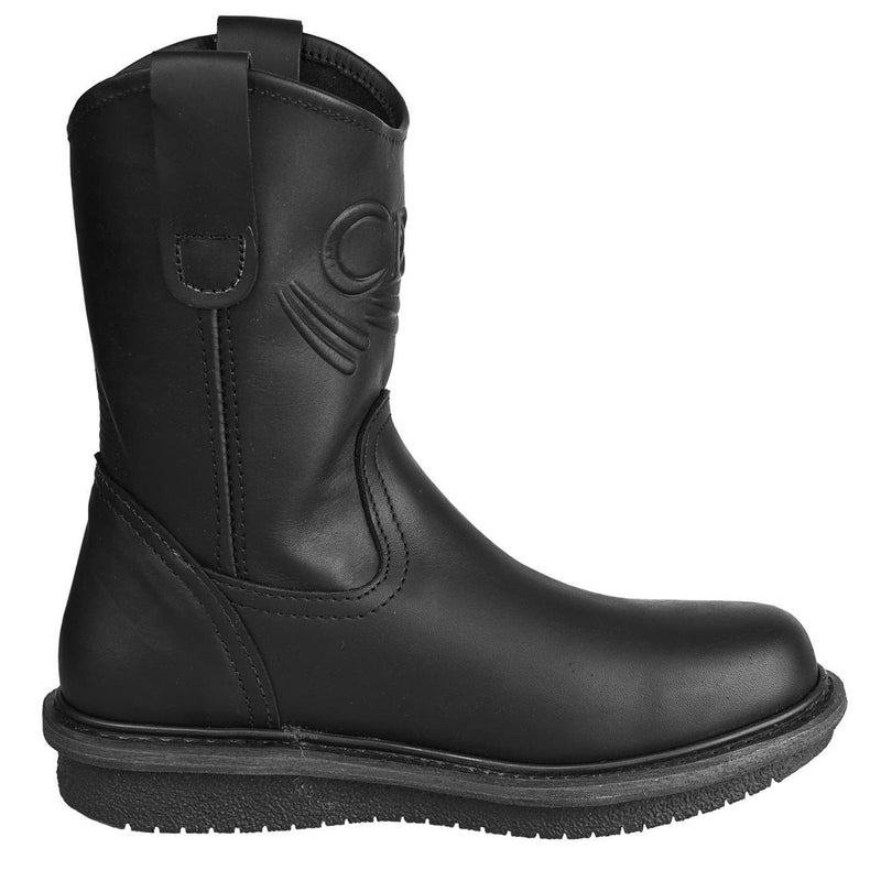 Men's Work Boots - Wedge Sole - Black Work Boots - Cebu - Pull On Work Boots - Black Wellington Work Boots