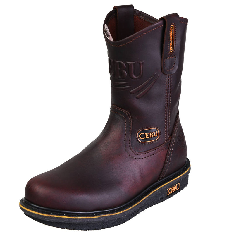 Men's Work Boots - Wedge Sole - Shedron Work Boots - Cebu - Pull On Work Boots - Shedron Wellington Work Boots