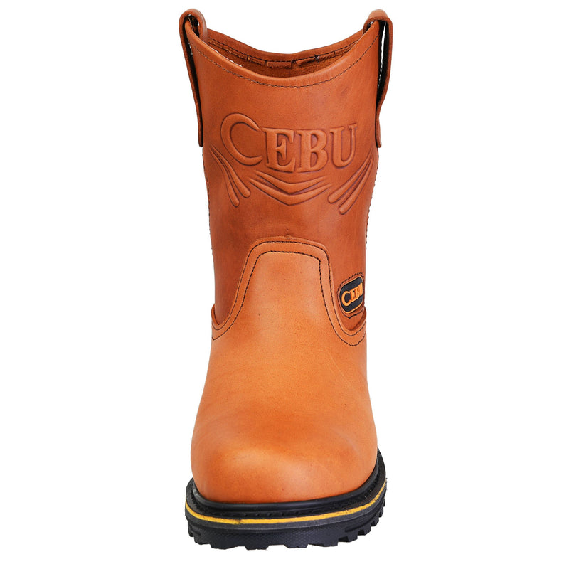 Men's Work Boots - Heavy Duty - Tan Work Boots - Cebu - Pull On Work Boots - Honey Wellington Work Boots