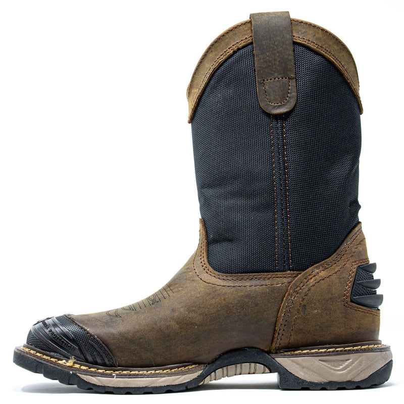 Men's Work Boots - Square Toe & Rubber Shield - Brown Work Boots - Cebu - Pull On Work Boots - Brown Wellington Work Boots