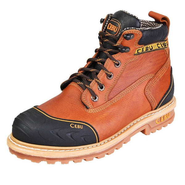 "Men's Work Boots - Heavy Duty & Rubber Shield - Tan Work Boots - Cebu - 6"" Work Boots - Honey 6in Work Boots"