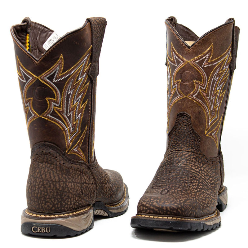 Men's Work Boots - Square Toe & Lightweight - Brown Work Boots - Cebu - Pull On Work Boots - Chocolate Wellington Work Boots