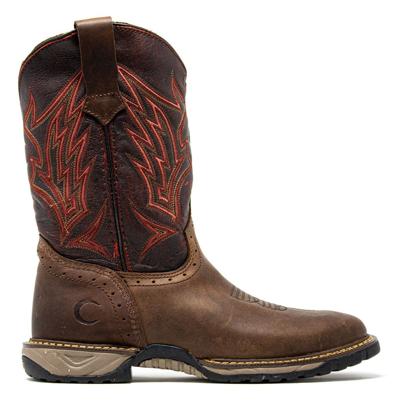Men's Work Boots - Square Toe & Lightweight - Brown Work Boots - Cebu - Pull On Work Boots - Brown Wellington Work Boots