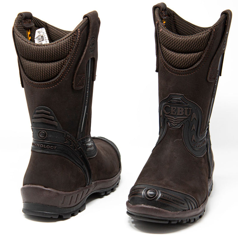 Men's Work Boots - Waterproof - Brown Work Boots - Cebu - Pull On Work Boots - Brown Wellington Work Boots