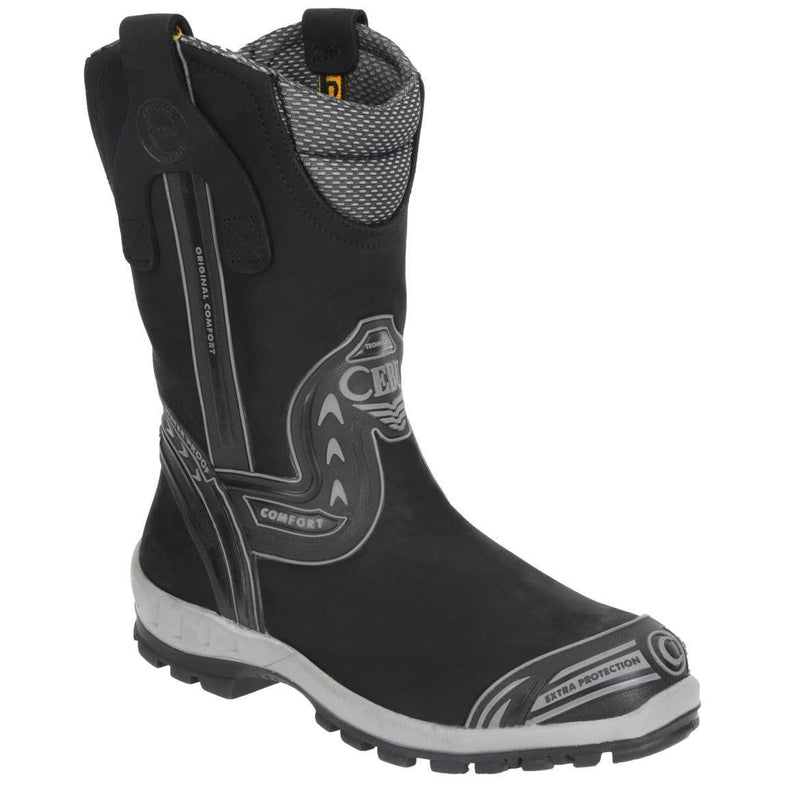 Men's Work Boots - Waterproof - Black Work Boots - Cebu - Pull On Work Boots - Black Wellington Work Boots