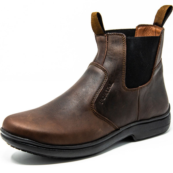 Men's Work Boots - Non Slip - Brown Work Boots - Fortal - Slip On Work Boots - Brown Ankle Work Boots