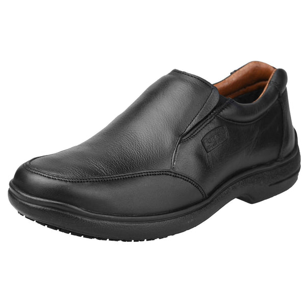 Men's Work Shoes - Non Slip - Black Work Shoes - Fortal - Slip On Work Shoes - Black Slip On Shoes