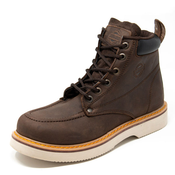 "Men's Work Boots - Wedge Sole & Lightweight - Brown Work Boots - Labrador - 6"" Work Boots - NBK Brown 6in Work Boots"