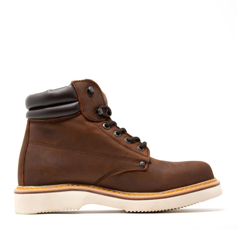 "Men's Work Boots - Wedge Sole & Lightweight - Brown Work Boots - Labrador - 6"" Work Boots - Copper 6in Work Boots"