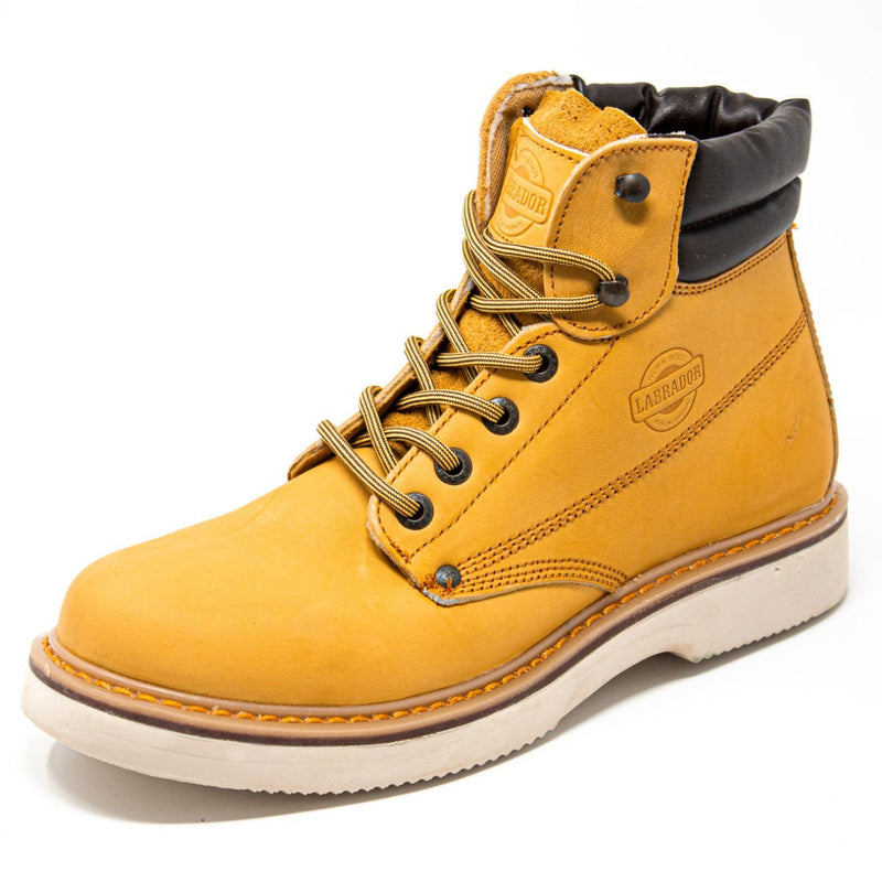"Men's Work Boots - Wedge Sole & Lightweight - Tan Work Boots - Labrador - 6"" Work Boots - Honey 6in Work Boots"