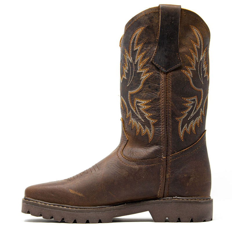 Men's Work Boots - Square Toe & Lightweight - Brown Work Boots - Labrador - Pull On Work Boots - Brown Wellington Work Boots