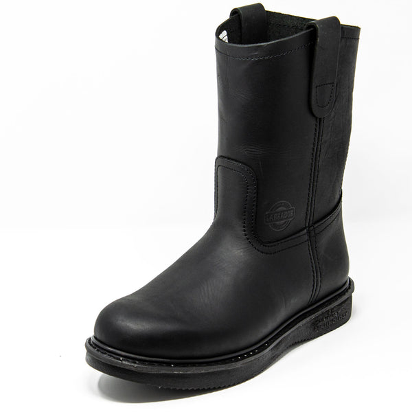 Men's Work Boots - Wedge Sole & Lightweight - Black Work Boots - Labrador - Pull On Work Boots - Black Wellington Work Boots