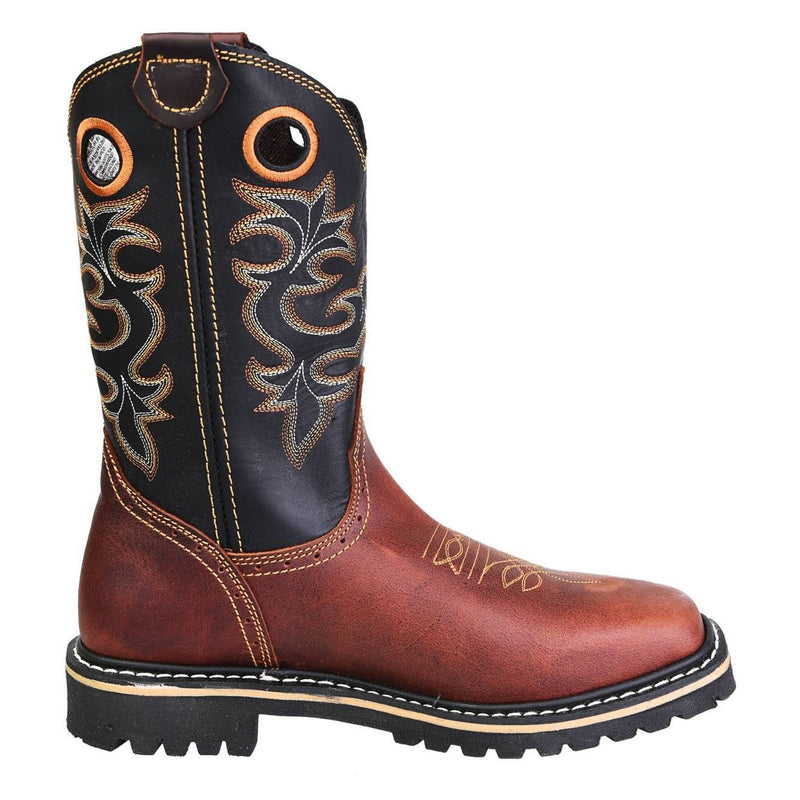 Men's Work Boots - Steel Toe - Shedron Work Boots - Pradera - Pull On Work Boots - Shedron Wellington Work Boots