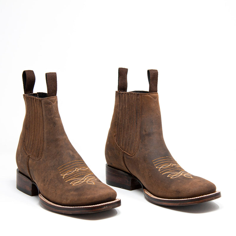 Men's Cowboy Boots - Leather Sole - Brown Cowboy Boots - Pradera - Cowboy Ankle Boots - Brown Western Ankle Boots