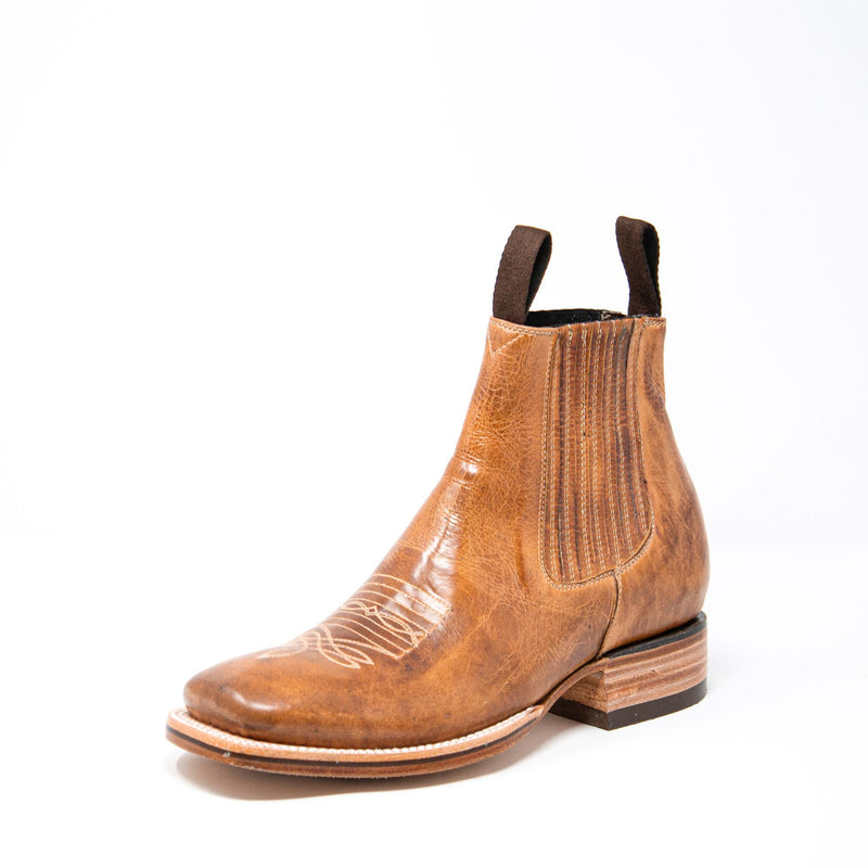 Men's Cowboy Boots - Leather Sole - Tan Cowboy Boots - Pradera - Cowboy Ankle Boots - Tan Western Ankle Boots