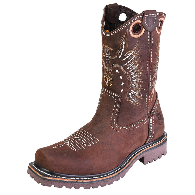 Men's Work Boots - Square Toe - Brown Work Boots - Pradera - Pull On Work Boots - Chocolate Wellington Work Boots