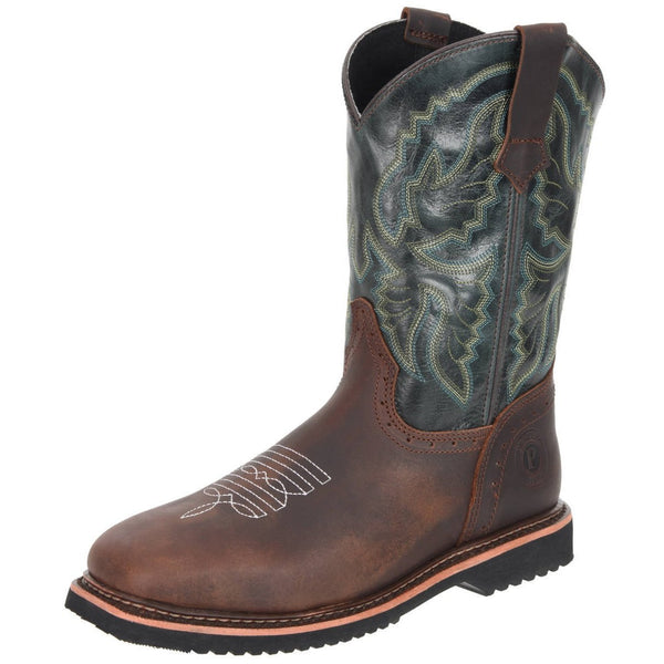 Men's Work Boots - Square Toe - Brown Work Boots - Pradera - Pull On Work Boots - Olive Wellington Work Boots