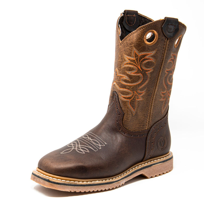 Men's Work Boots - Steel Toe - Brown Work Boots - Pradera - Pull On Work Boots - Brown Wellington Work Boots