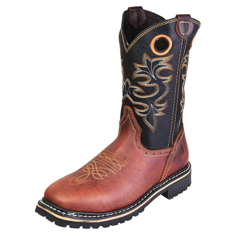 Men's Work Boots - Square Toe - Shedron Work Boots - Pradera - Pull On Work Boots - Shedron Wellington Work Boots