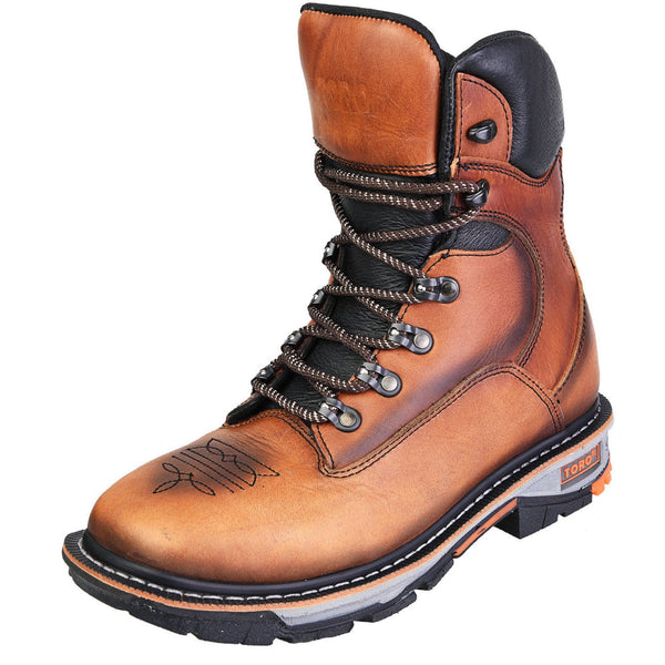 "Men's Work Boots - Steel Toe & 3-Layer Sole - Tan Work Boots - Toro Bravo - 8"" Work Boots - Tan 8in Work Boots"