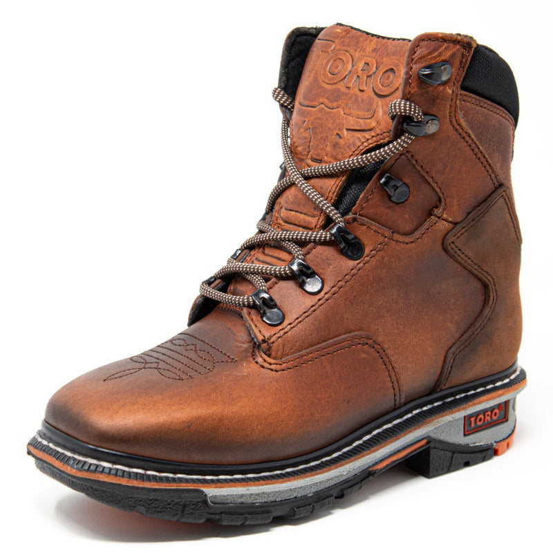 "Women's Work Boots - 3-Layer Sole & Soft Toe - Tan Work Boots - Toro Bravo - 8"" Work Boots - Tan 8in Work Boots"