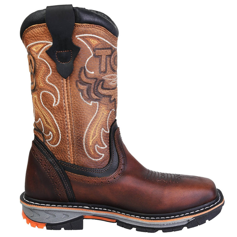 Men's Work Boots - Steel Toe & 3-Layer Sole - Brown Work Boots - Toro Bravo - Pull On Work Boots - Brown Wellington Work Boots