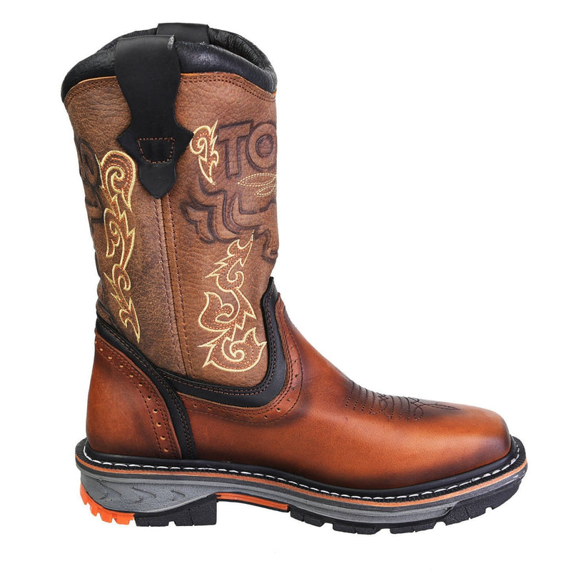 Men's Work Boots - Steel Toe & 3-Layer Sole - Tan Work Boots - Toro Bravo - Pull On Work Boots - Tan Wellington Work Boots
