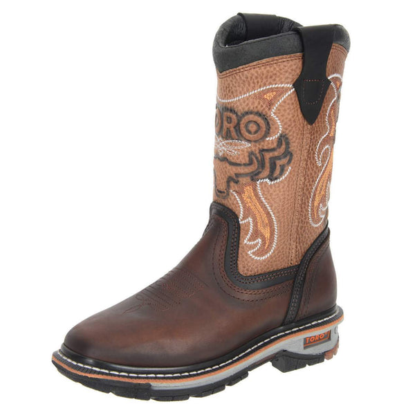 Women's Work Boots - Steel Toe & 3-Layer Sole - Brown Work Boots - Toro Bravo - Pull On Work Boots - Brown Wellington Work Boots