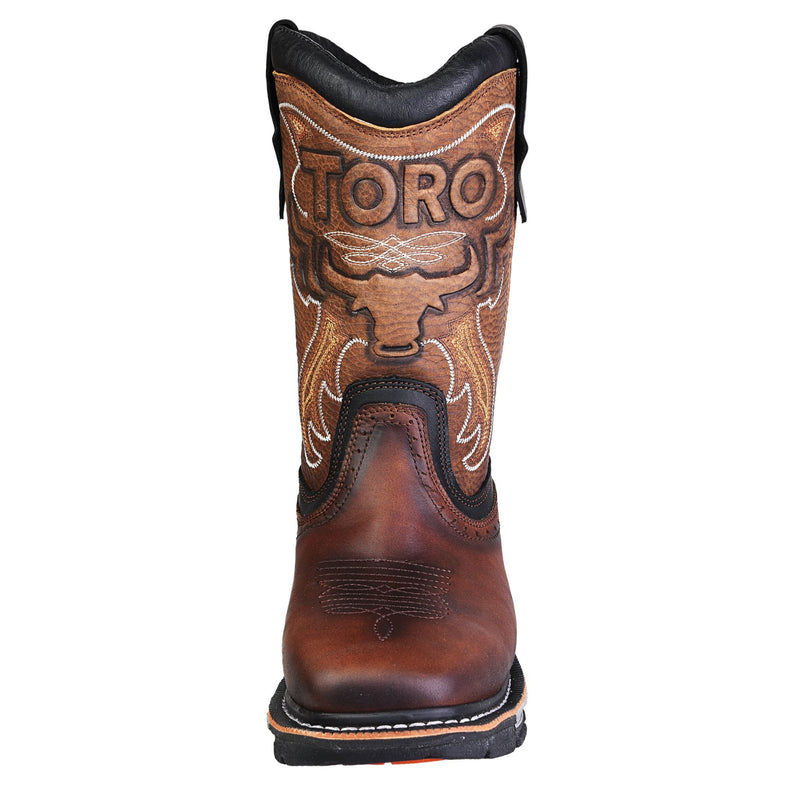 Men's Work Boots - 3-Layer Sole & Soft Toe - Brown Work Boots - Toro Bravo - Pull On Work Boots - Brown Wellington Work Boots