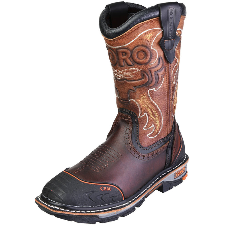 Men's Work Boots - 3-Layer Sole & Rubber Shield - Brown Work Boots - Toro Bravo - Pull On Work Boots - Brown Wellington Work Boots