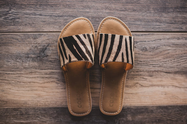 Zebra Slide On Sandals