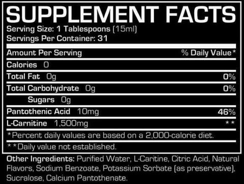 ProSupps L-Carnitine 1500 Supplement Facts