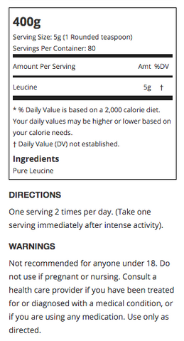 Allmax Leucine Supplement Facts