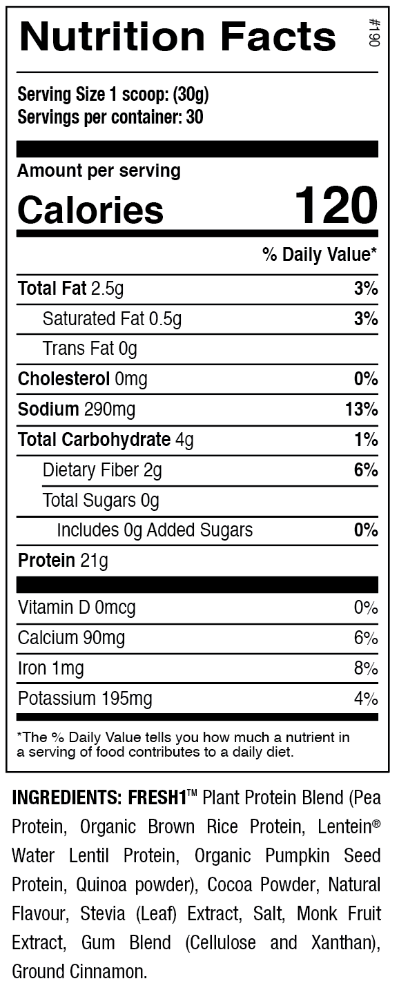 ANS FRESH1 Vegan Protein Nutritional Facts