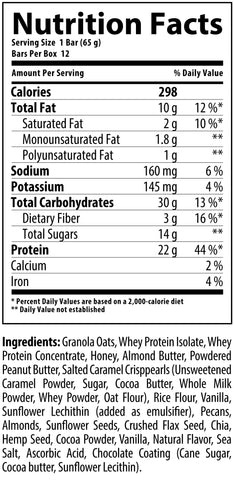 Nutrabolics FEED Bar Supplement Facts Salted Caramel Pecan