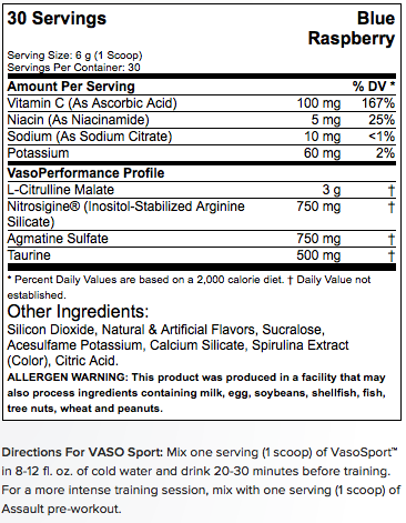 MusclePharm VasoSport, 30 servings