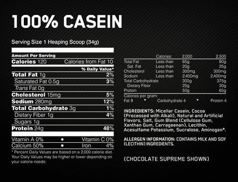 Optimum 100% Casein Supplement Facts