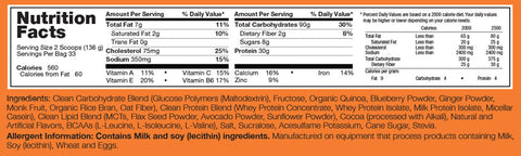 Rivalus Clean Gainer 10lbs Supplement Facts