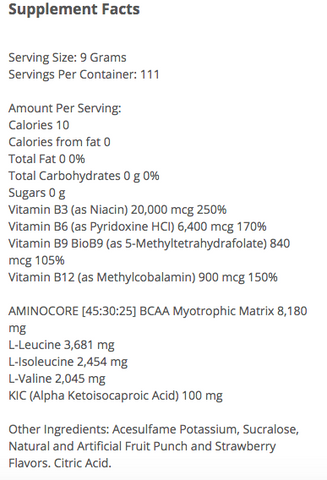 Allmax Aminocore Supplement Facts