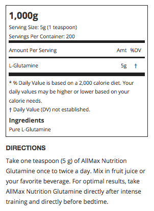 Allmax Glutamine Supplement Facts